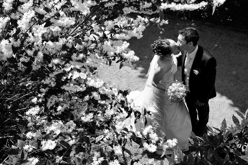 Photo de mariés près d'un arbuste en fleurs