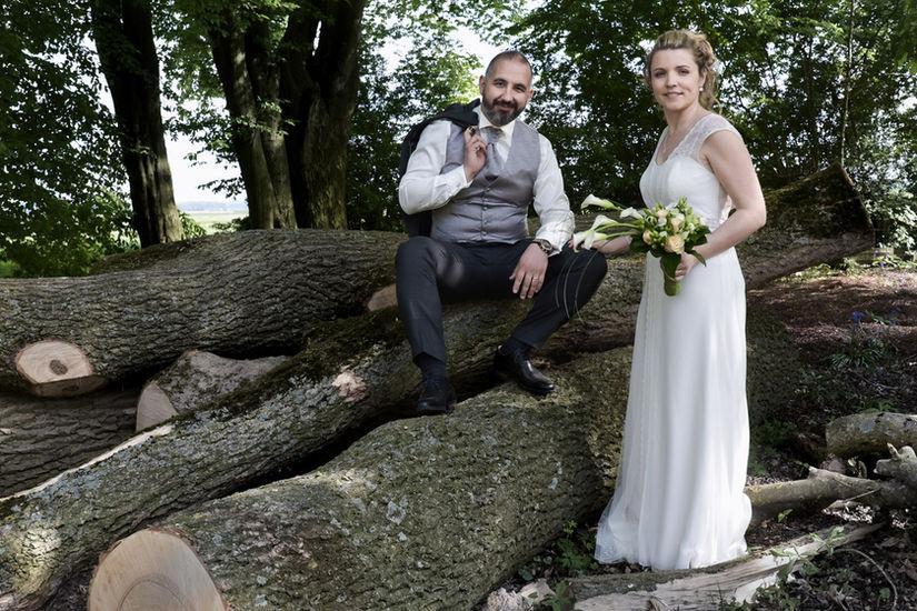 Photo de mariage avec arbres coupés