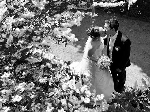 Couple de mariés près d'un arbuste fleuri
