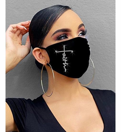 Letter Pattern Bling Rhinestone Face Mask