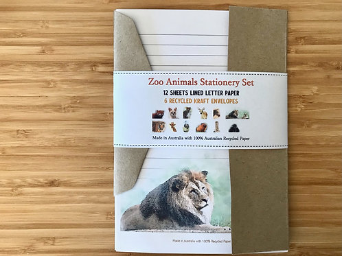 Zoo Animals S1 Australian Made Eco Letter Writing Set with Envelopes