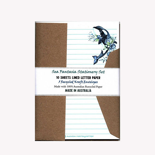 Whale Fantasia Letter Writing Stationery Set with Envelopes