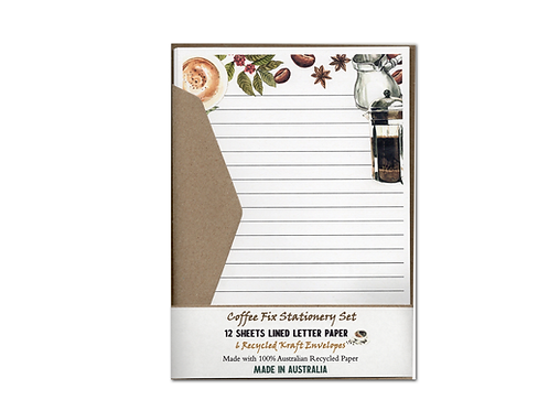 Coffee Fix Australian Made Letter Writing Set with Envelopes