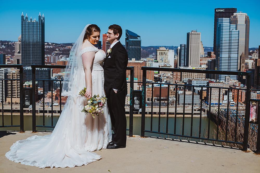 Bride and Groom on Mount Washington outlook