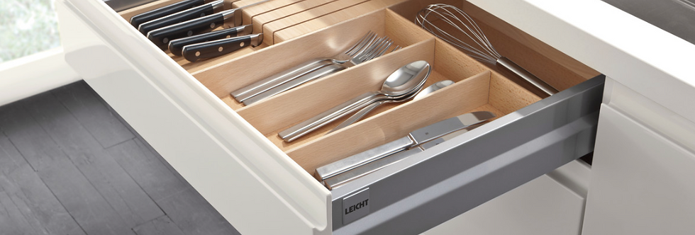 Beech wood cutlery divider with knife block
