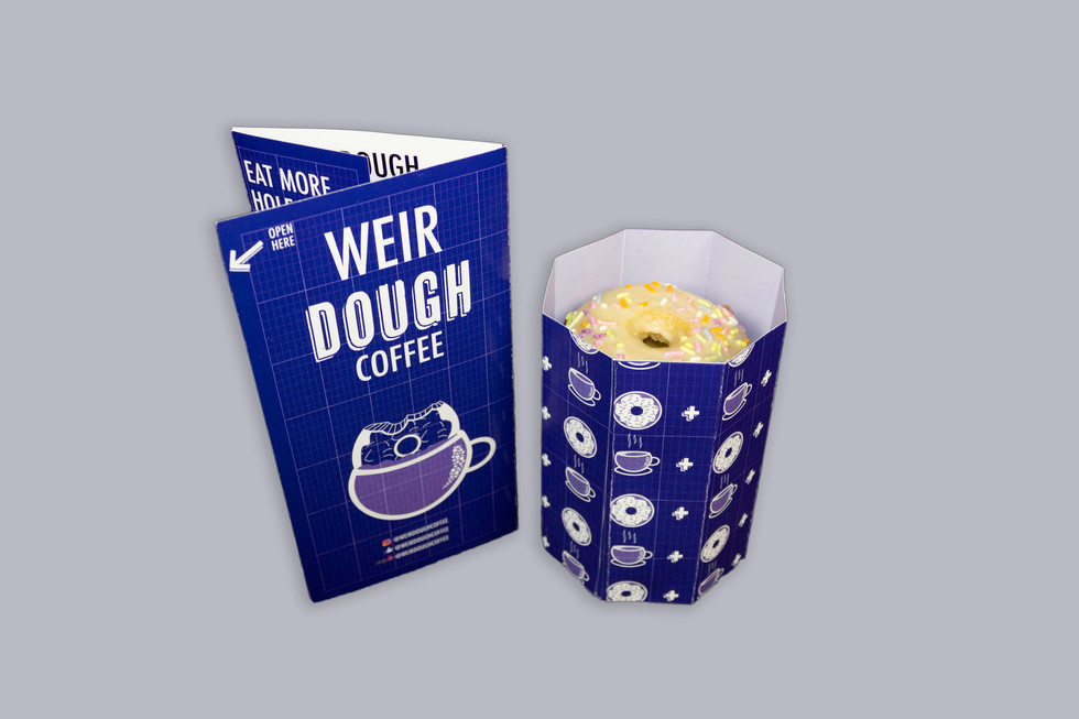WeirDOUGH doughnut holder + carry-out menu