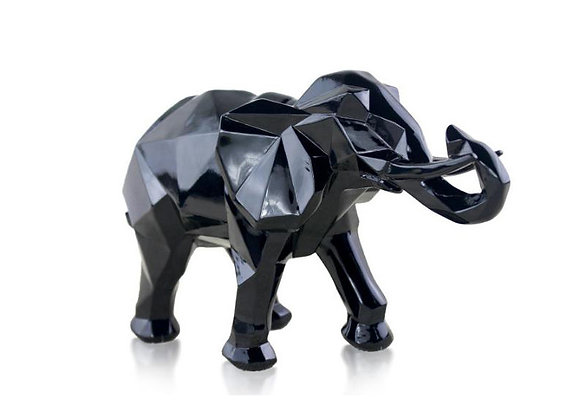 Modern Abstract Black Elephant Statue