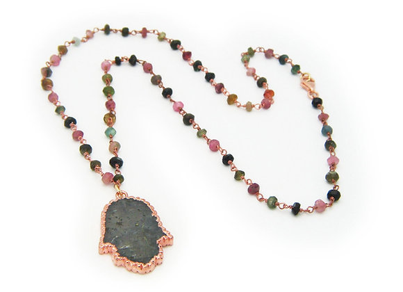 Labradorite Hamsa on Tourmaline Chain