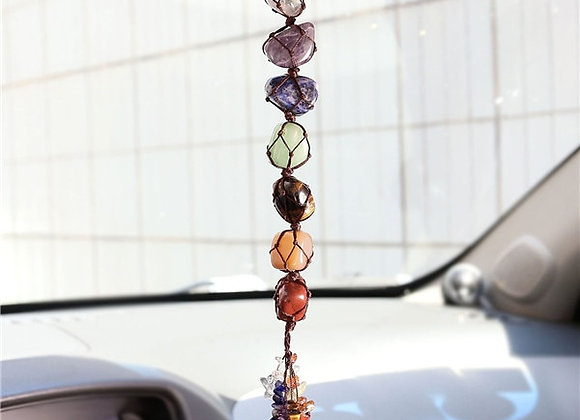 7 Chakra Tumbled Gemstone Tassel Car/Home Decor