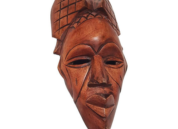 """12"""" African Wood Mask in Brown"""