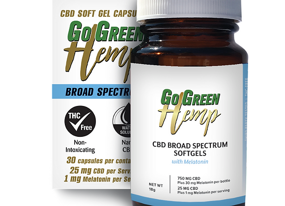 GoGreen Hemp CBD Soft Gel Capsules WithMelatonin/CBD