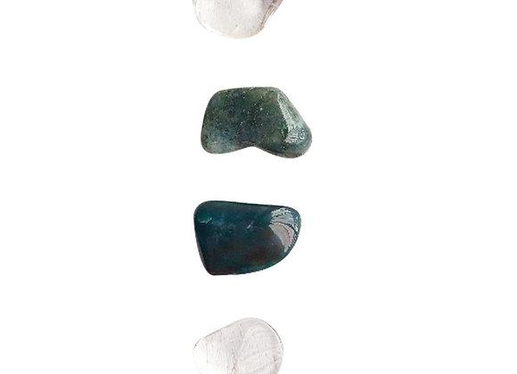 Gain Self-Control * 2x Crystal Quartz, Bloodstone & Moss Agate