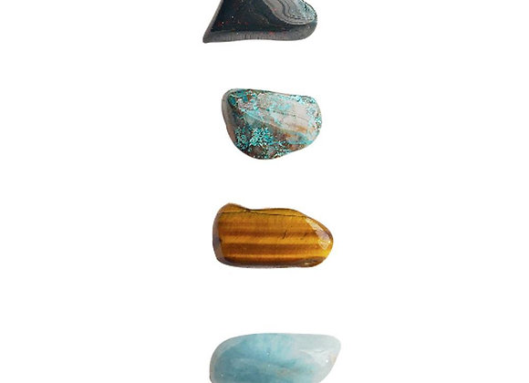 Creativity + Peace * Aquamarine, Bloodstone, Chrysocolla & Tiger Eye