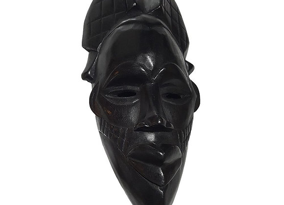 "12"" African Wood Mask in Black"