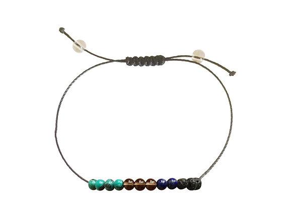 Bloodstone, Smoky Quartz & Chinese Turquoise + Nylon + Anklet or Bracelet