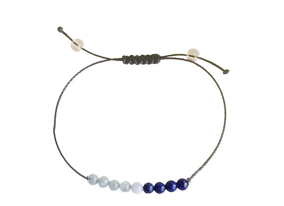Aquamarine, Angelite & Lapis Lazuli + Nylon + Choice of Anklet or Bracelet