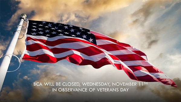 BCA will be closed, Wednesday November 1