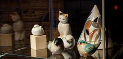 福重美和 鳥と猫のオブジェ