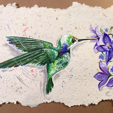 Hummingbird visit on pumpkin paper