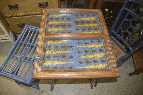 Sea Turtles and Shells Decoupaged Pencil Reed Backgammon Table