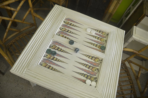 Antique White Decoupaged Shell Backgammon Table Vintage Base