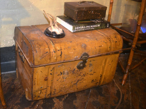 English Metal Steamer Trunk turn of the century