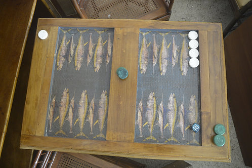 TUNA AND MARLIN Decoupaged Backgammon Table with Antique English Bamboo Base 