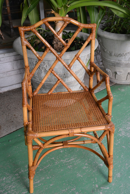 italian chippendale chair w/ cane seat