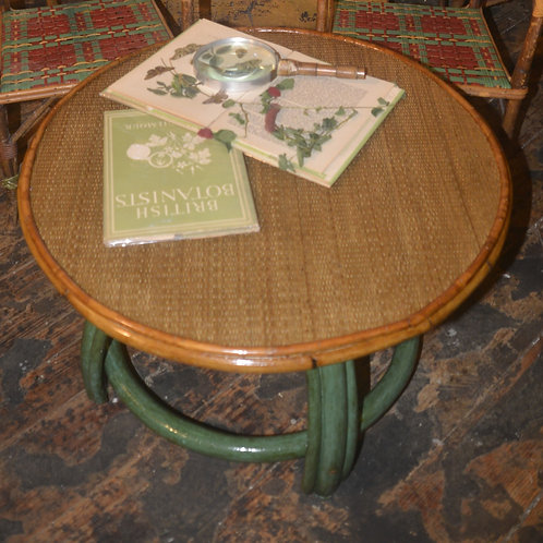 Small round coffee table faux green base w/ seagrass top