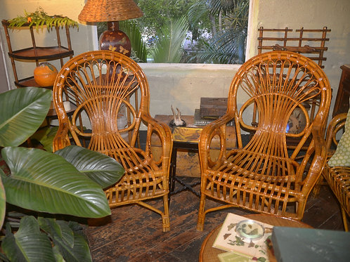 Pair of Rattan and Reed Arm Chairs