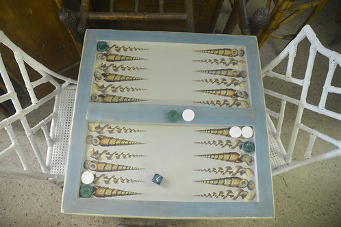 Blue and Grey Decoupaged Backgammon Table with Shells