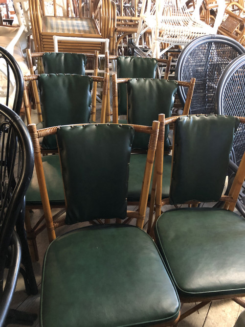 set of six 1940s rattan dining chairs