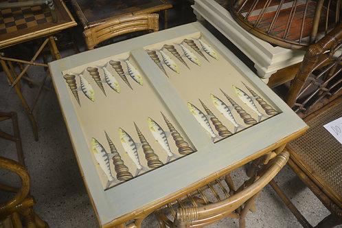 BONE FISH AND SHELLS VINTAGE PREWAR BASE Decoupaged Backgammon Table
