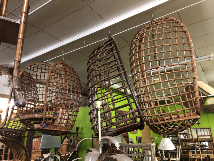 collection of vintage hanging chairs