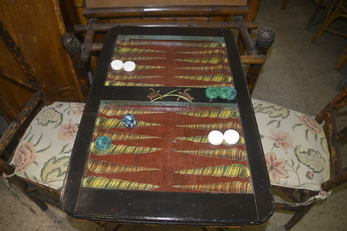 Antique Base Turtle and Shell Decoupaged Backgammon Table