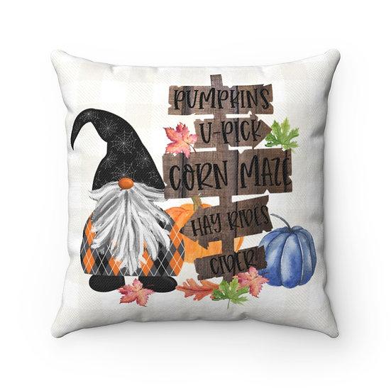 Fall Gnome Light Checkered Plaid Throw Pillow
