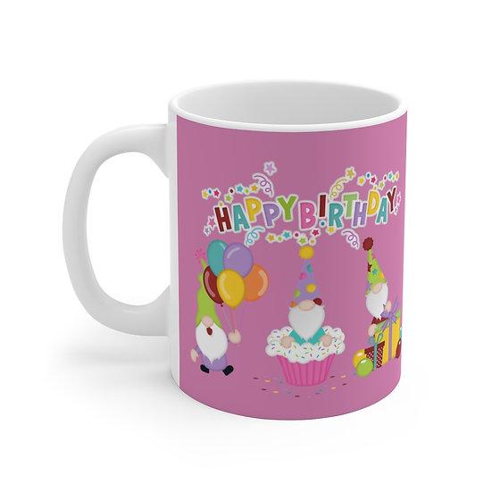 Pink Happy Birthday Ceramic Mug, Happy Birthday Gnome Coffee Cup, Birthday Gift