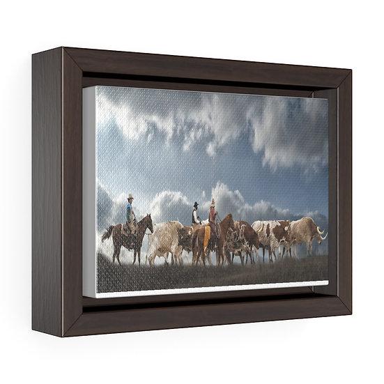 Canvas Print, Texas Longhorn Cattle Drive Canvas, Rustic Ranch Print
