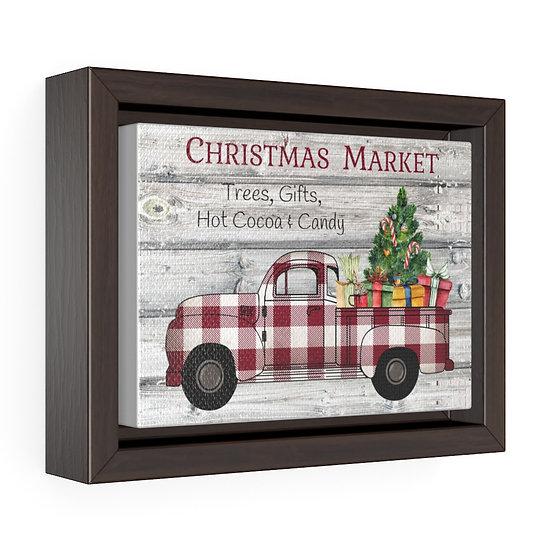 Canvas Print, Farmhouse Christmas Truck, Kitchen Horizontal Framed Wrap Wall Art
