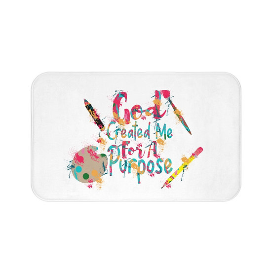 Christian Farmhouse Bath Mat, God Created Me Slip Bathroom Mat