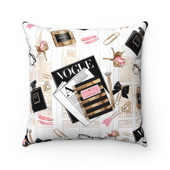 Vogue Fashion Throw Pillows, Pink and Black Fashionista Pillow Decor, Fashion
