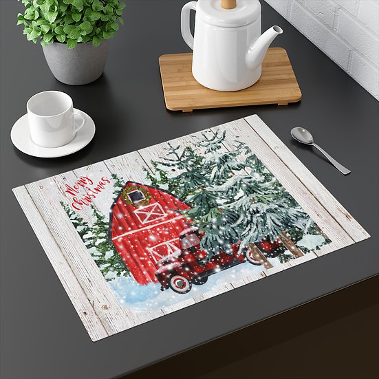 Farmhouse Placemat, Christmas Country Truck, 18 in x 14 in Table Placemats