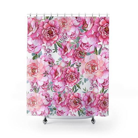 Peonies Floral Shower Curtain, Pink Peonies Shower Liner