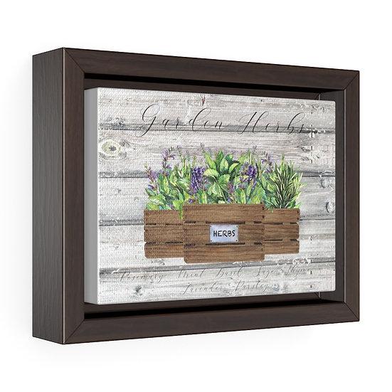 Canvas Print, Kitchen Garden Herbs, Gray Rustic Wood Horizontal Framed Canvas