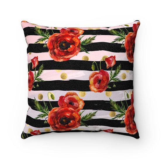 Pillow, Red Poppy Fashion Throw Pillows, Red and Black Fashionista Pillow Decor
