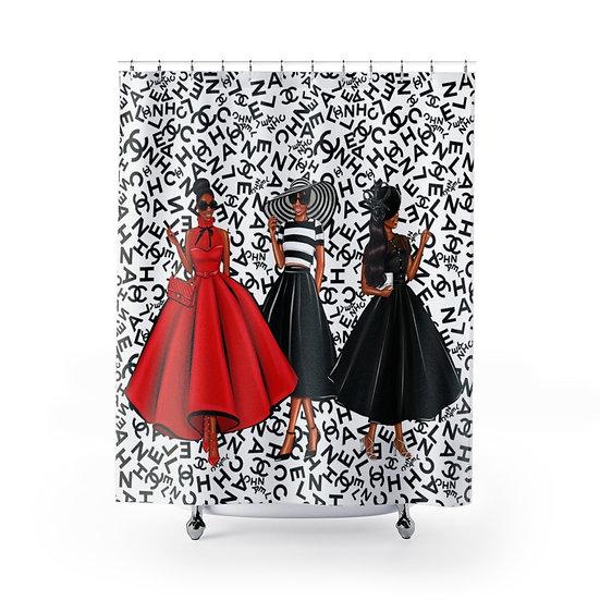 Designer Inspired Shower Curtain, African American Woman Fashionista