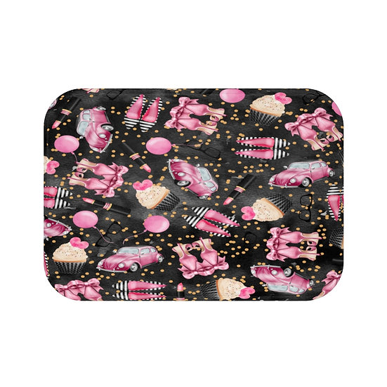 Bath Mat, Shoes Fashion, Black and Pink Fashion Illustration, bathroom decor