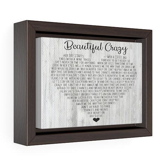 Song Lyric Print, Beautiful Crazy Personalized Wedding Song Lyrics Canvas