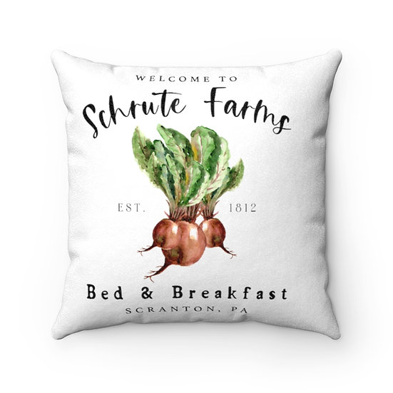 Pillow, Schrute Farms, The Office, Funny Faux Suede Square Pillow, Office Throw