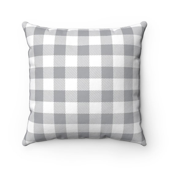 Gray and White Checkered Plaid Throw Pillow